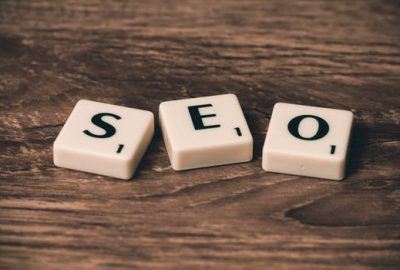 SEO spelled out with scrabble tiles